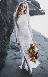 Fitted Long Sleeve Lace Sheath Wedding Dress With Front Split