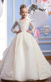 Ball Gown V-neck Beading Tier Flower Girl Dress