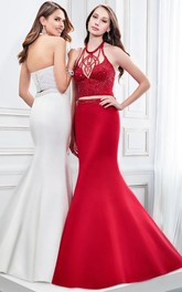 Trumpet Haltered-Neck Beaded Satin Sleeveless Formal Dress