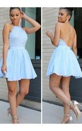 Sleeveless A-line Short Mini Halter Pleats Ruching Chiffon Lace Homecoming Dress