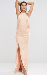 High Neck Front-split Chiffon Dress