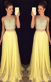 Gorgeous Beadings Sleeveless Prom Dress Long Chiffon Party Gowns