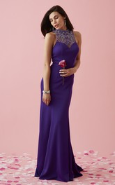 Jewel-Neck Sleeveless Jersey Dress With Illusion And Beading