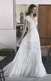 Bohemian V-neck A-line Empire Chiffon Wedding Gown With Petal Sleeve And Lace Tires