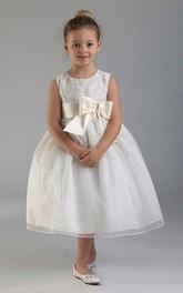 Tulle Slit Front Layered Tea-Length Flower Girl Dress