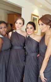 Modern One-shoulder Empire Bridesmaid Dress Floor-length With Beadings