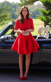 Red Lace Homecoming Half-Sleeve Modern Short Dress