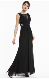 Elegant Sleeveless Bateau A-line Chiffon Gown With Lace Appliqued Top