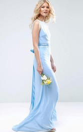 Sheath Sleeveless High Neck Chiffon Bridesmaid Dress With Bow And Deep-V Back