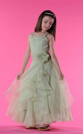 Organza Waist Floral Bateau-Neckline-Slit Pearl Flower Girl Dress