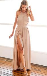 A Line Sleeveless Chiffon Sexy Backless Straps Formal Dress Split Front