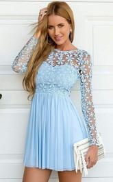 Bateau Chiffon Lace Long Sleeve Short A Line Homecoming Dress with Flowers