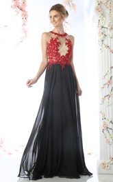 Multi-Color Keyhole Appliqued A-Line Full-Length Sleeveless Jewel-Neck Chiffon Dress