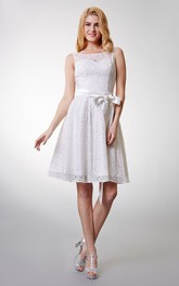 Bateau Sleeveless Lace short A-line Dress With bow