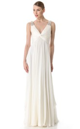 Empire Broad Strapped Deep-V-Neck Floor-Length Chiffon Dress