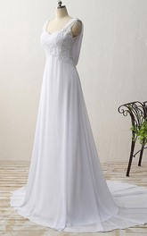 Strapped Chiffon A-line Empire Wedding Dress With Appliques And Sweep Train