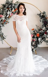 Elegant Short Sleeve Sheath Lace Bateau Wedding Dress with Appliques and Court Train