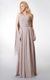 A-Line Pleated Chiffon Single-Shoulder Boho Floor-Length Dress