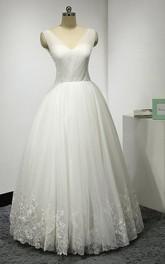 Tulle Lace Hemline Pleats V-Neckline Sleeveless Gown