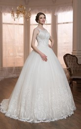 Scoop-neck Sleeveless Ball Gown Dress With Illusion And Court Train