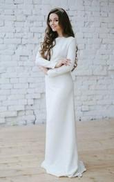 Bateau Long Sleeve Sheath Dress With Appliqued Waist
