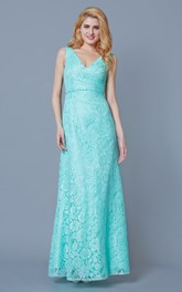 Lace V-neck Sleeveless Long Dress With Split Back