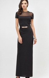 Jersey Beaded Belt Short-Sleeve Jewel-Neckline Dress