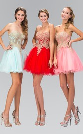 A-Line Jeweled Short Mini Strapless Sweetheart Sleeveless Dress