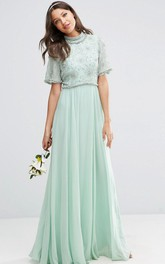 flowy jewel-neck Short Sleeve Chiffon Pleated Dress
