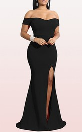 Off-the-shoulder Jersey Mermaid Sleeveless Guest Formal Dress With Split Front