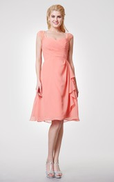 Cap-sleeved Chiffon Knee Length Dress With Back Keyhole