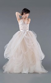 Organza Button Zipper Lace Tulle Wedding Gown