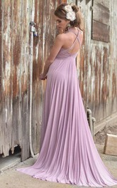 Haltered Sleeveless Floor-length Dress With Pleats And Sweep Train