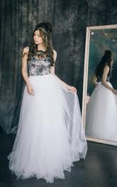 Floor-length Straps Black Wedding Dress Sheath Sleeveless Open Back With Appliques Lace Pleats