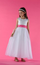 Ankle-Length Bow A-Line Scoop-Neckline Flower Girl Dress