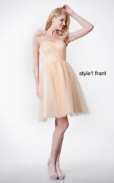 A-Line Convertible Satin Sash Ruched Sweetheart Gown