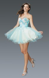 Multi-Color Satin Tulle Ruffled Appliqued A-Line Mini Strapless Sweetheart Sleeveless Dress