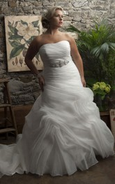 Strapless Ruffled Pick Up Ball Gown With Corset Back And Jeweled Waist