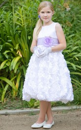 Satin Layered 3-4-Length Flower Girl Dress