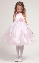 Bowknot Satin Slit-Front Tea-Length Organza Flower Girl Dress
