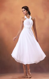 Draping Crystal A-Line 3-4-Length Dress
