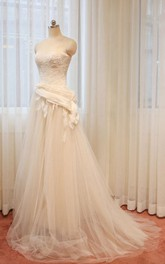 Sleeveless Zipper Tulle Long A-Line Keyhole Appliqued Dress
