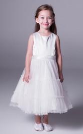 Bowknot Ruffled Tea-Length A-Line Satin Flower Girl Dress