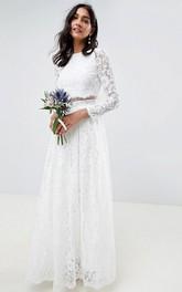 Simple Two Piece Jewel Neckline Long Sleeve Wedding Dress