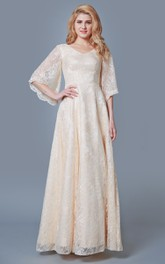 Lace Bell Sleeves Long Vintage Bridesmaid Dress