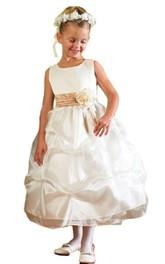 Floral Ruffles A-Line Sleeveless Dress