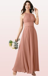 Simple A Line Chiffon Halter Ankle-length Bridesmaid Dress With Ruching