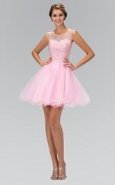 A-Line Ruffled Jeweled Mini Scoop-Neck Tulle Sleeveless Illusion Dress