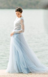 Bateau-neck Lace Long Sleeve A-line Dress With Tulle skirt