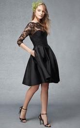 Bateau Half Sleeve Satin Knee-length Dress With lace